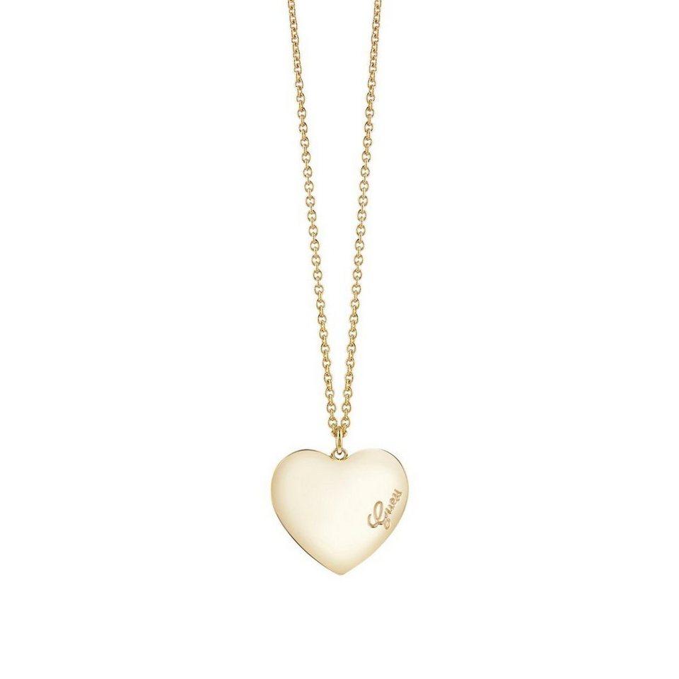 Guess Lange Halskette Heartbeat gelbvergoldet in Goldenfarbe