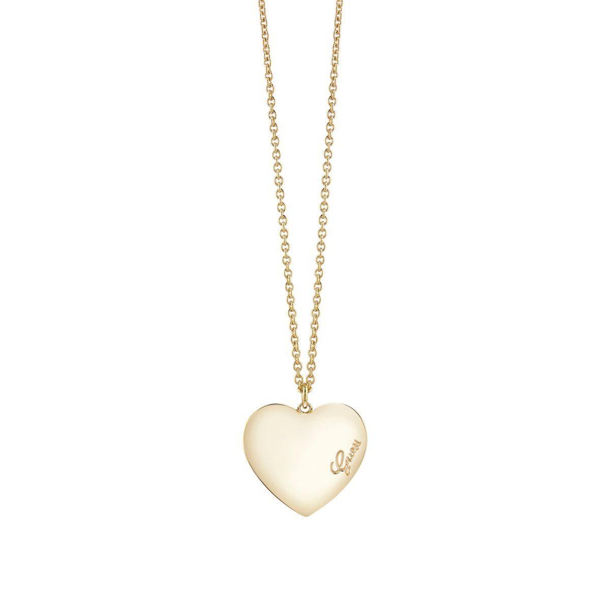 Guess Lange Halskette Heartbeat gelbvergoldet