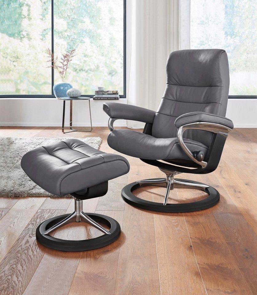 Stressless® Set: Relaxsessel mit Hocker »Opal« mit Signature Base, Größe S, mit Schlaffunktion in grey