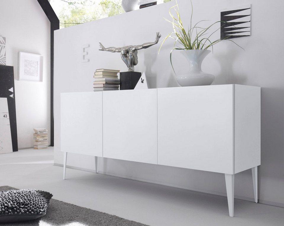Sideboard »Zela«, 3-türig, mit Füßen, Breite 184 cm in Weiß Lack matt