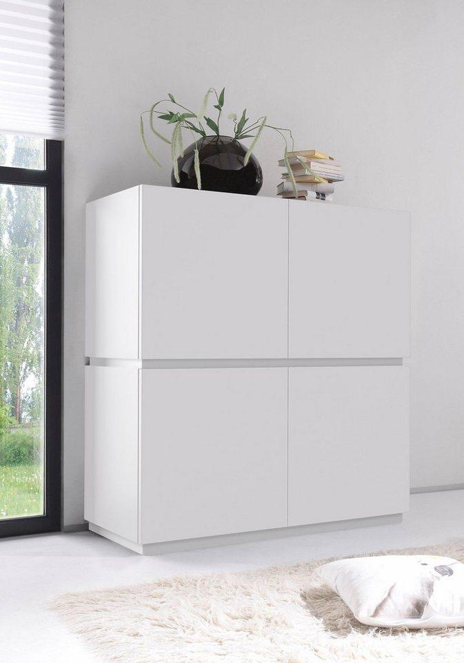 Highboard »Zela«, 4-türig, Breite 123 cm in Weiß Lack matt, Blende/Sockel: Weiß Lack matt