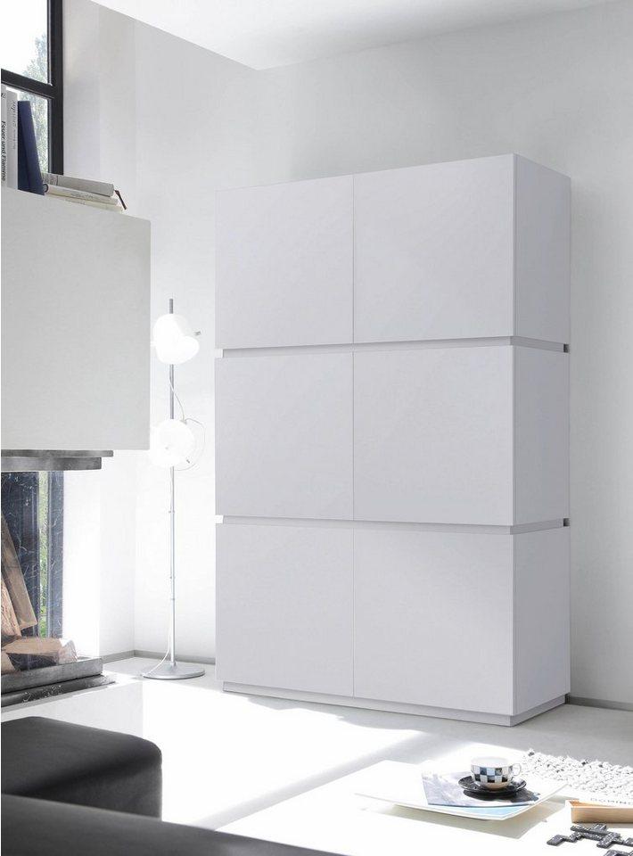 Highboard »Zela«, 6-türig, Breite 123 cm in Weiß Lack matt, Blende/Sockel: Weiß Lack matt
