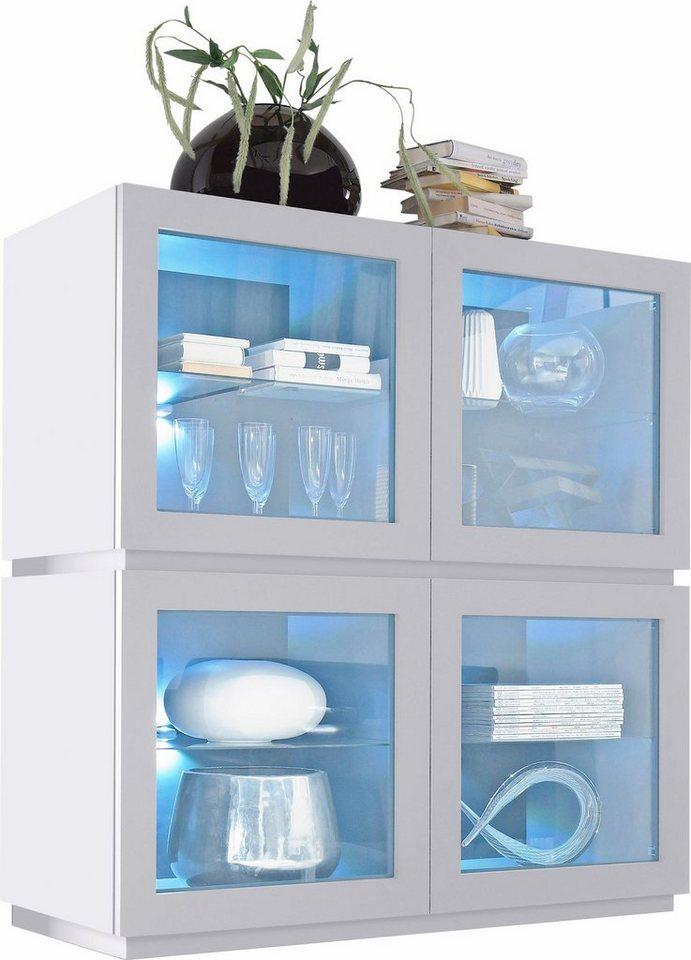 Highboard mit Glaseinsatz »Zela«, 4-türig, Breite 123 cm in Weiß Lack matt, Blende/Sockel: Weiß Lack matt