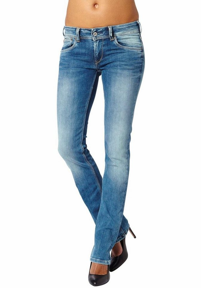 Pepe Jeans Straight-Jeans »SATURN« mit 2-Knopf-Bund in blue-used