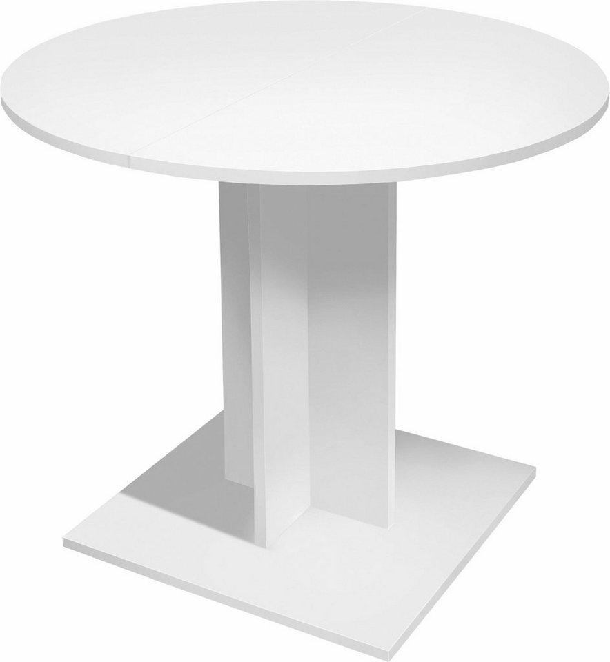 Esstisch rund, Durchmesser 80 cm mit Auszugsfunktion in weiß matt