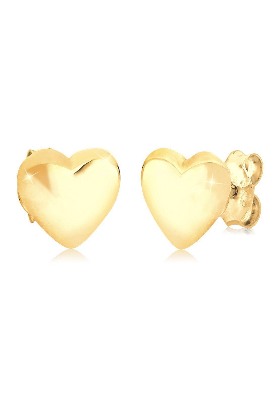 Elli Ohrringe »Herz Liebe Freundschaft Basic 925 Silber vergoldet«