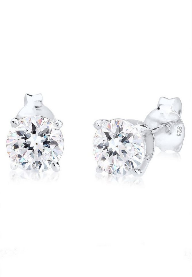 Elli Ohrringe »Basic Swarovski® Kristalle Filigran 925 Silber« in Weiß