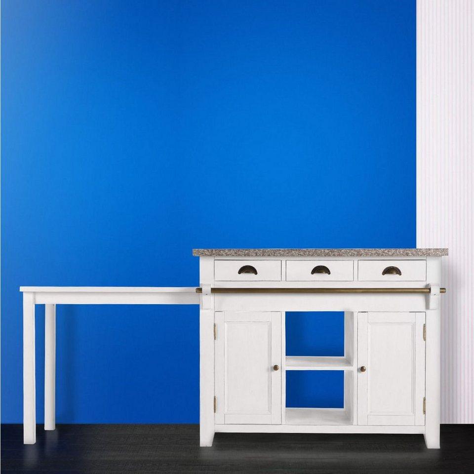 BUTLERS MAPLE HILL »Küchenblock mit Granitarbeitsplatte« in weiss