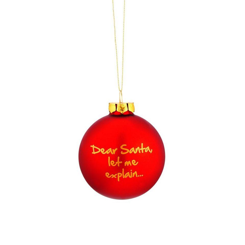 "BUTLERS NAUGHTY BAUBLES »Glaskugel ""Dear Santa, let me explain...""« in rot"