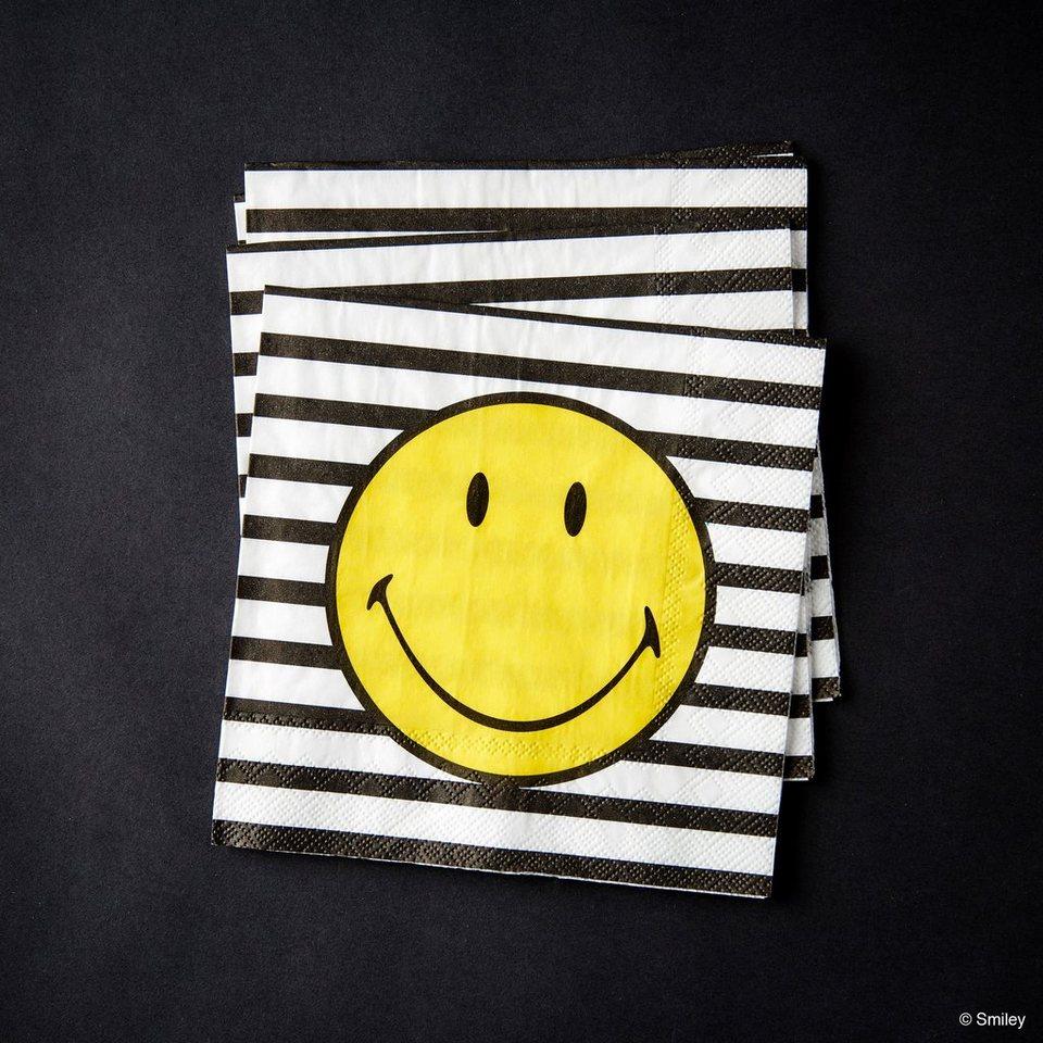 BUTLERS SMILEY »Papierserviette Smiley Streifen« in schwarz-weiss-gelb