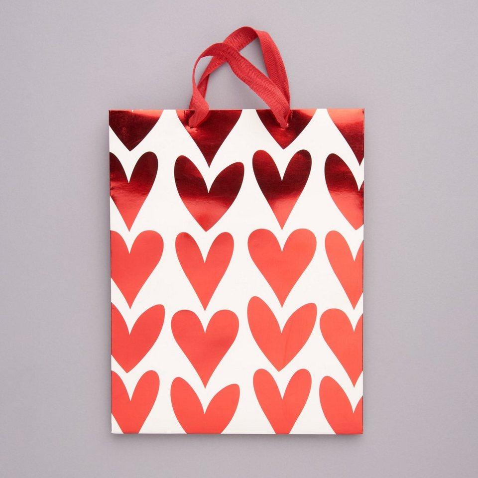 BUTLERS HEART TO HEART »Geschenktasche Herzen groß« in rot-weiss
