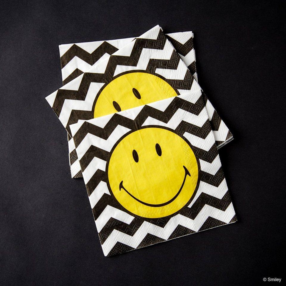 BUTLERS SMILEY »Papierserviette Smiley Wellen« in schwarz-weiss-gelb