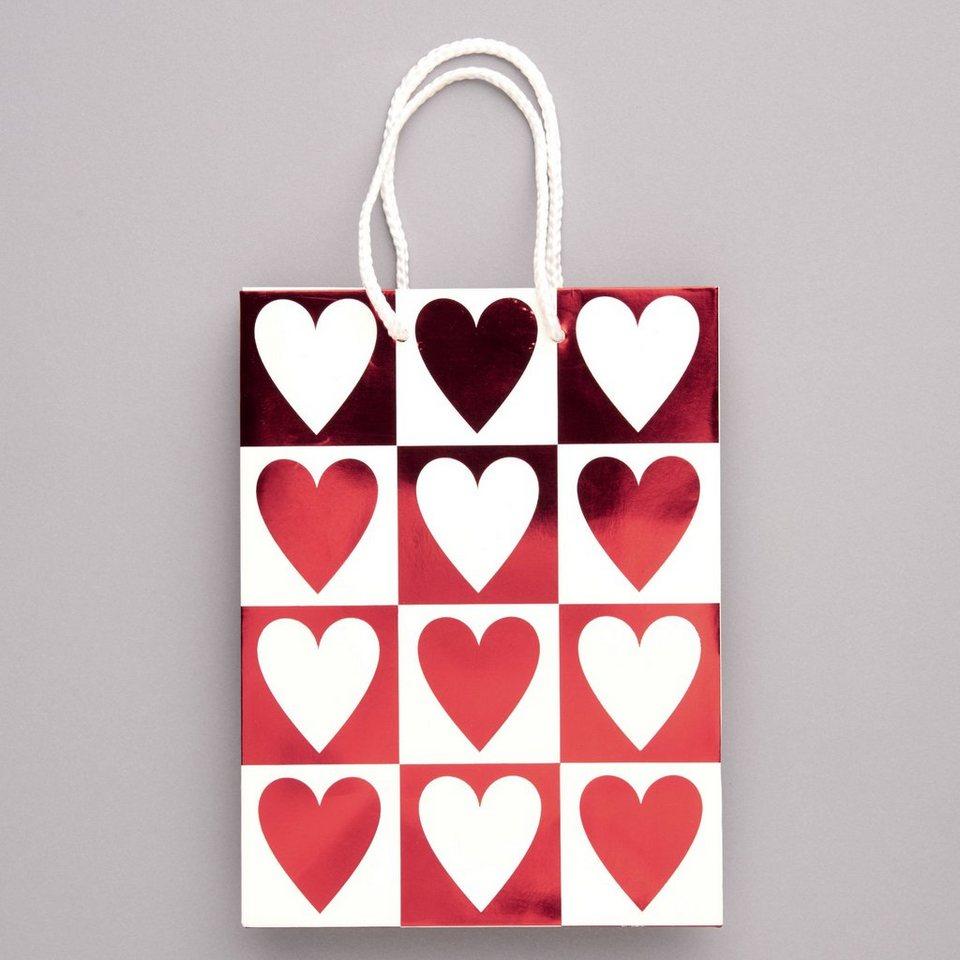 BUTLERS HEART TO HEART »Geschenktasche Doppel-Herzen« in rot-weiss