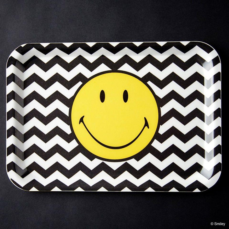 BUTLERS SMILEY »Tablett Smiley Wellen« in schwarz-weiss-gelb