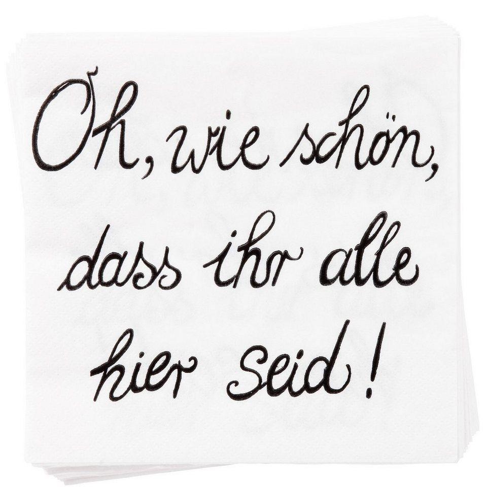 """BUTLERS APRÈS »Papierserviette """"Oh wie schön""""« in Weiß"""