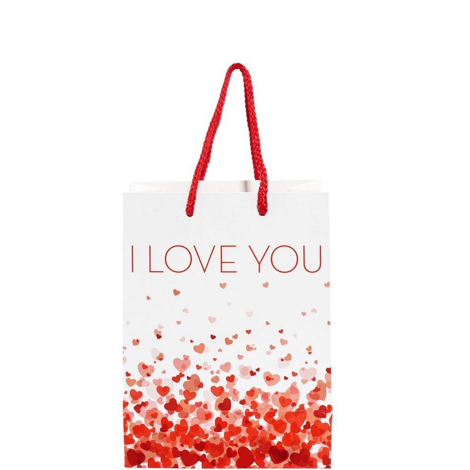 BUTLERS SURPRISE SURPRISE »Geschenktasche I love you« in rot-weiss