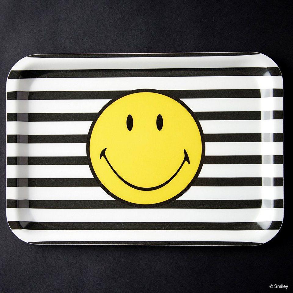 BUTLERS SMILEY »Tablett Smiley Streifen« in schwarz-weiss-gelb
