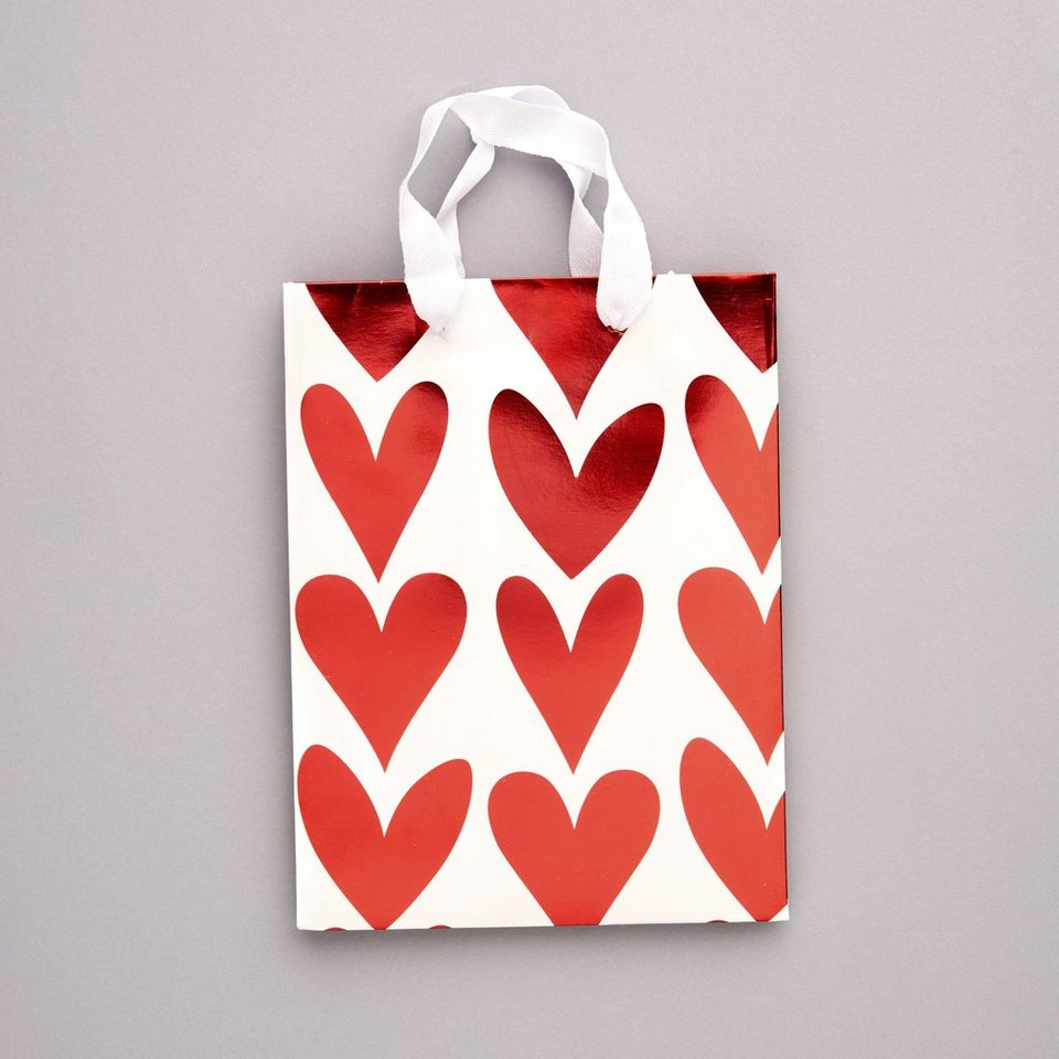 BUTLERS HEART TO HEART »Geschenktasche Herzen klein« in rot-weiss
