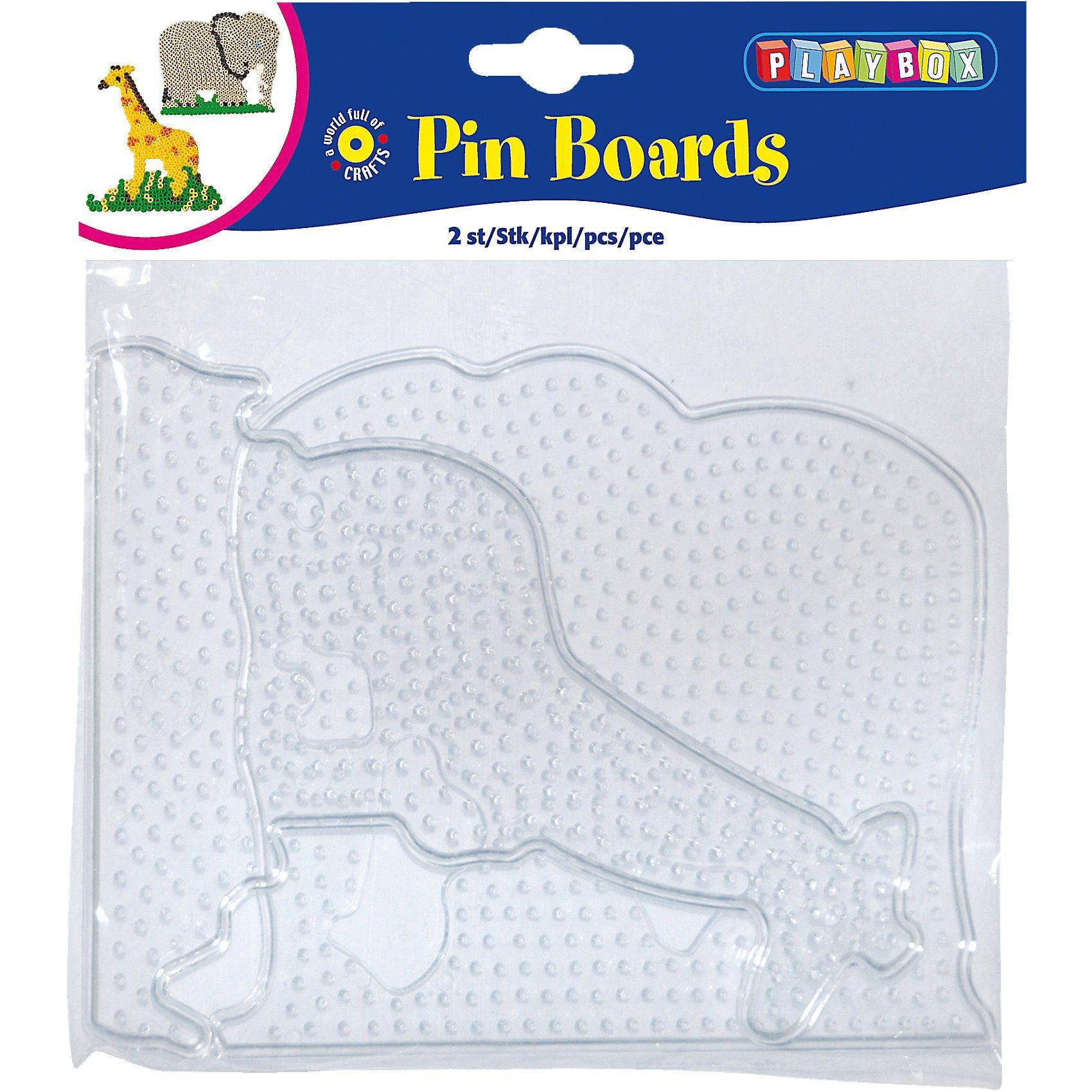 Playbox Bügelperlen Steckplatten, 2 Stück - Elefant, Giraffe