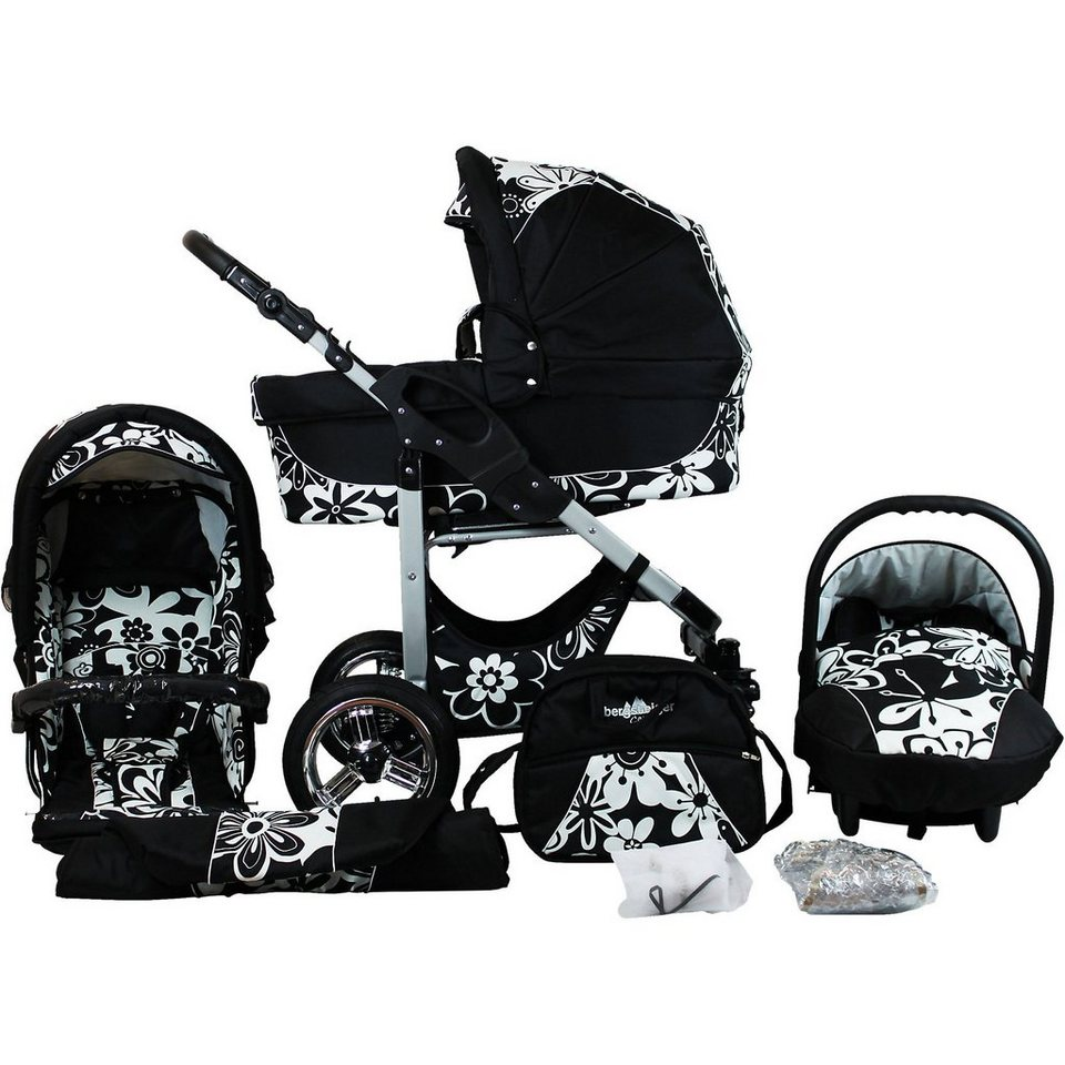 Bergsteiger Kombi Kinderwagen Capri, 10 tlg., white flowers in schwarz/weiß