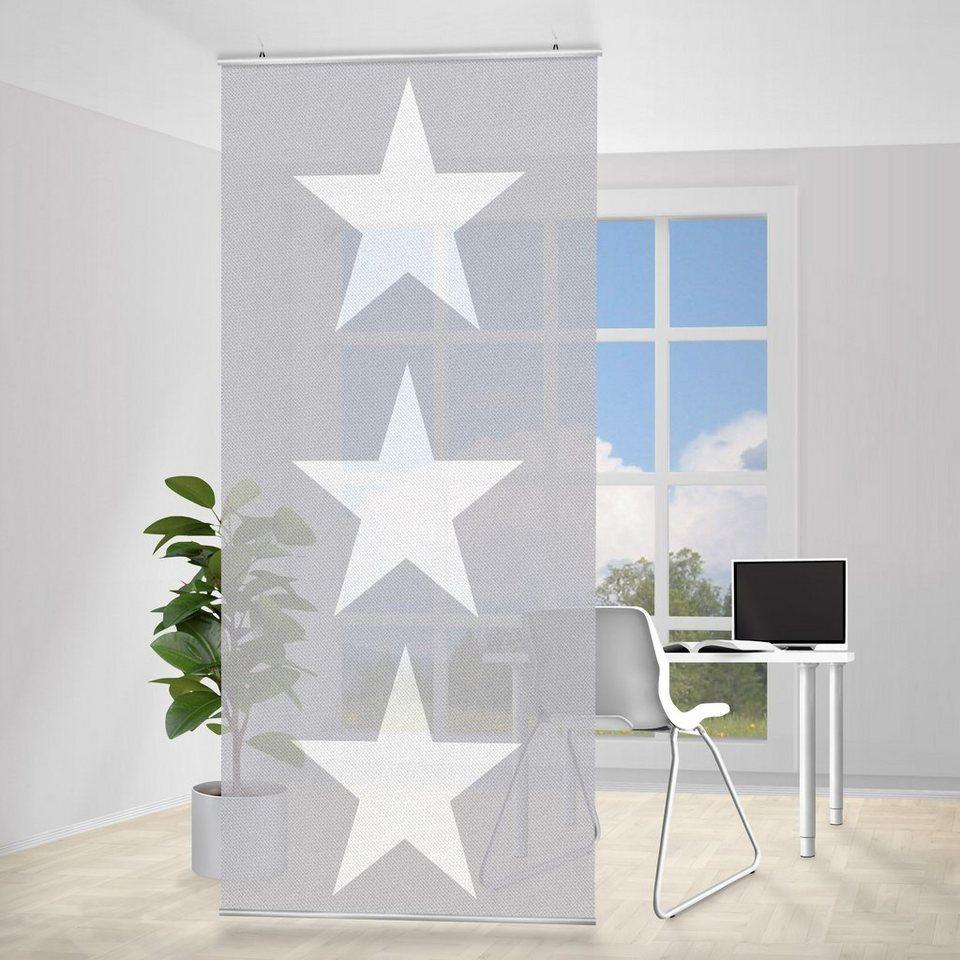 Bilderwelten Raumteiler 250x120cm »Große weiße Sterne auf grau« in Grau