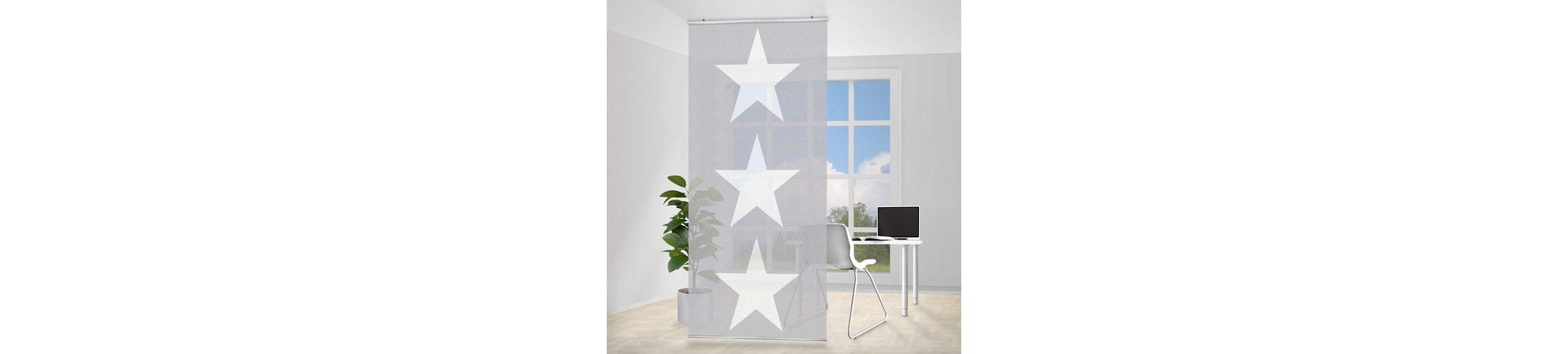 Bilderwelten Raumteiler 250x120cm »Große weiße Sterne auf grau«
