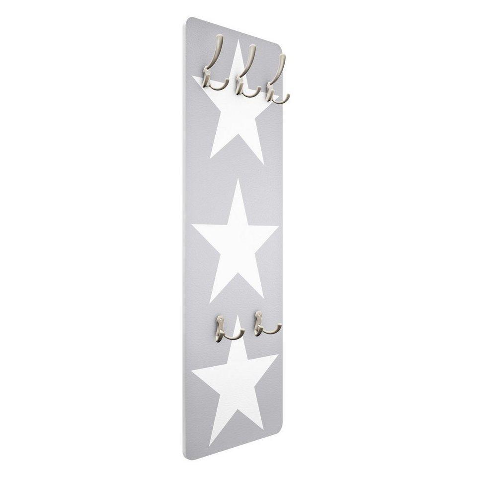Bilderwelten Kindergarderobe 139x46x2cm »Große weiße Sterne auf grau« in Grau