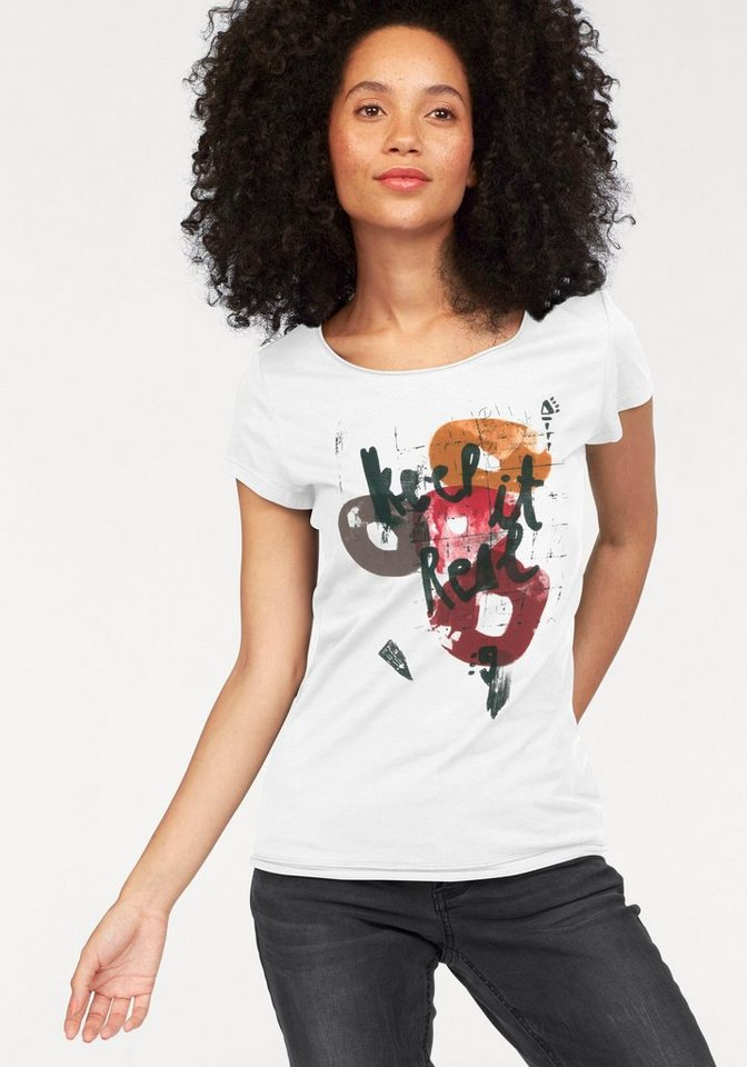 Q/S designed by T-Shirt mit Frontdruck in ecru