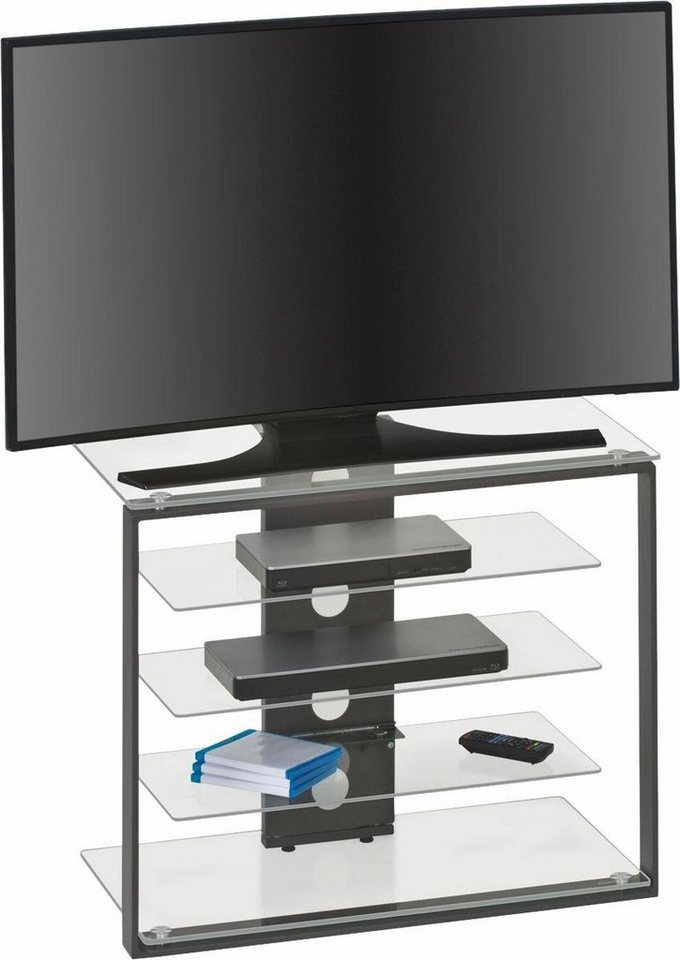 Maja Möbel TV-Rack, Höhe 65,6 cm in Metall anthrazit/Klarglas