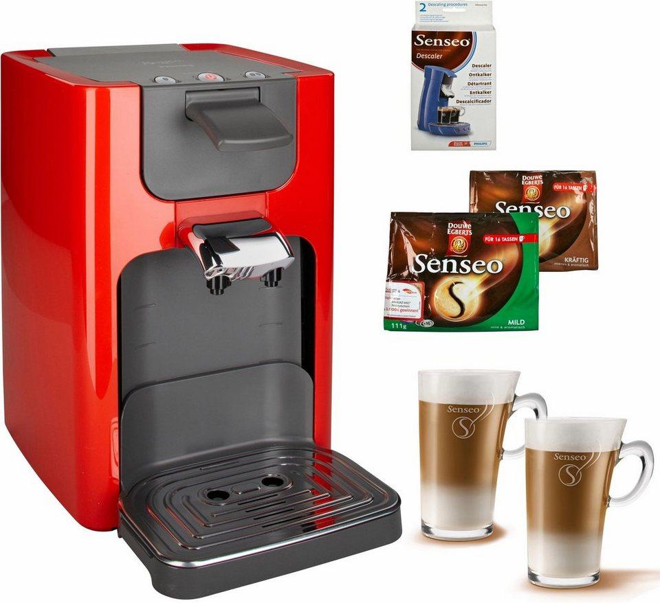 Philips SENSEO® Kaffeepadmaschine HD7863 Quadrante, inkl. Gratis-Zubehör im Wert von 35€ UVP in Rubinrot