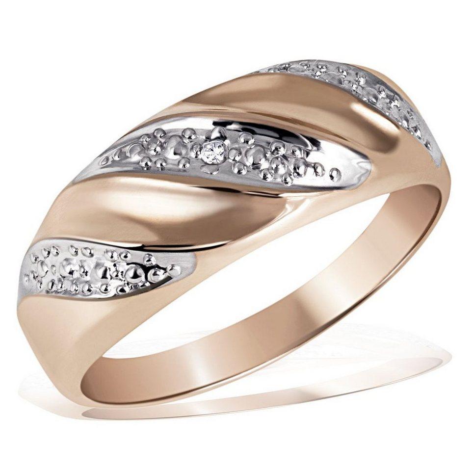goldmaid Damenring Red Wave 375/- Rotgold 1 Diamant 0,01 ct. P2/KL in rosegoldfarben