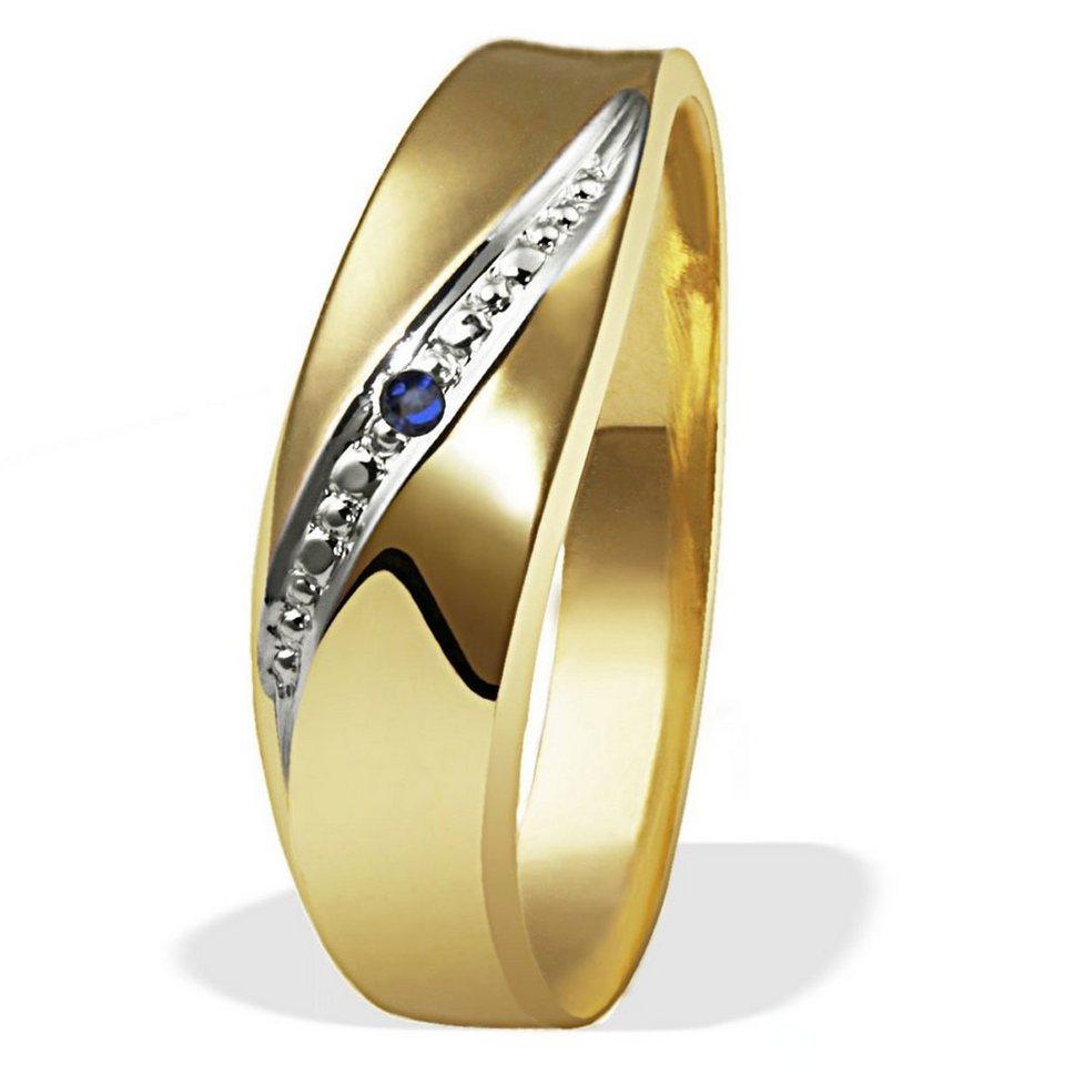 goldmaid Damenring 333/- Gelbgold 1blauer Safir in goldfarben