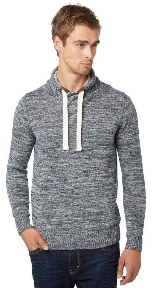 TOM TAILOR Pullover »Mouliné-Pullover mit Kapuze« in knitted navy