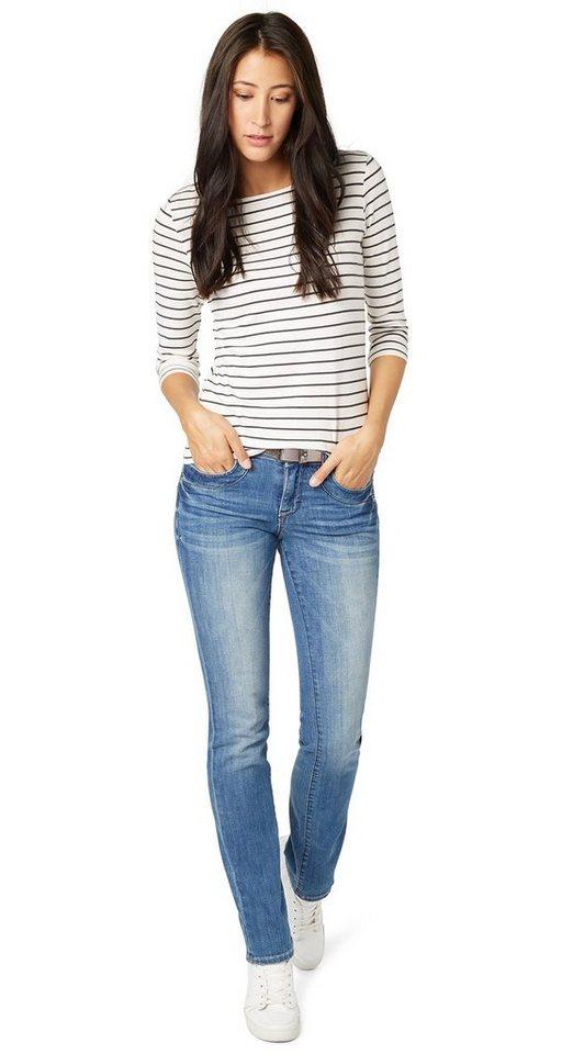 TOM TAILOR Jeans »Alexa Jeans mit Gürtel« in mid stone wash denim