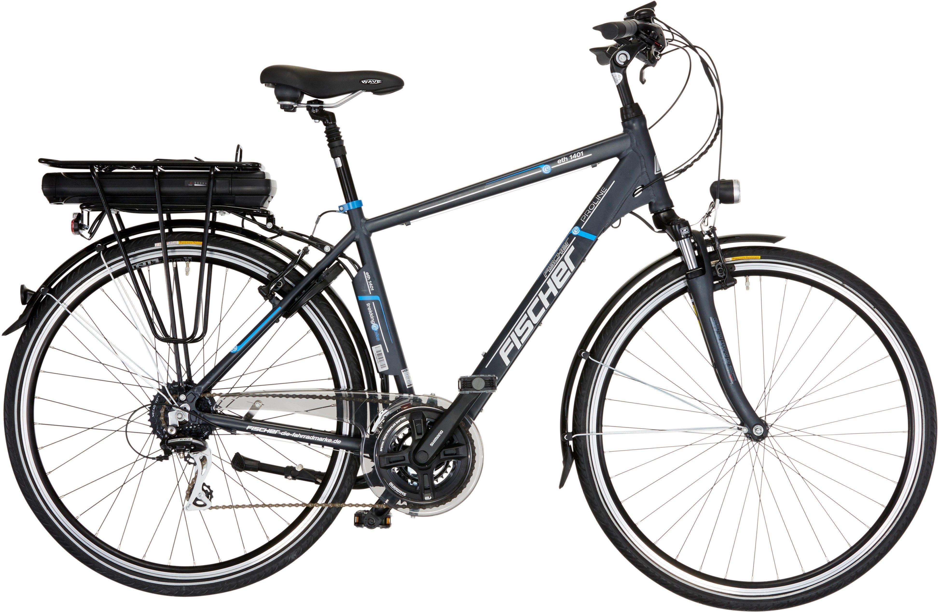 FISCHER Herren Trekking E-Bike, 36V/250W Hinterradmotor, 28 Zoll, 24 Gg.-Shimano Acera Kettensch.