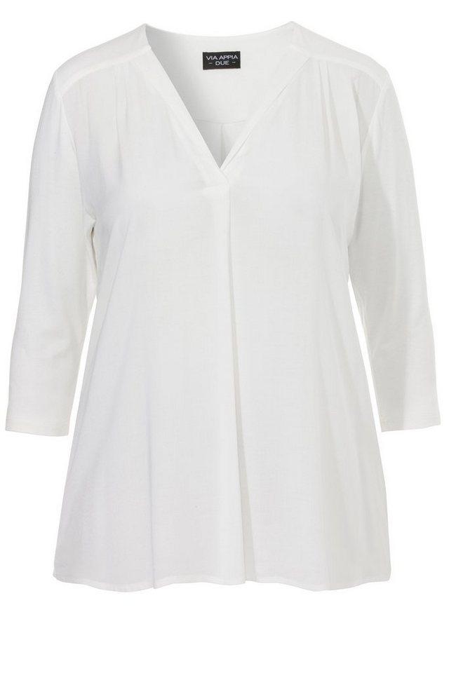 VIA APPIA DUE Fließendes Shirt mit V-Ausschnitt in ECRU