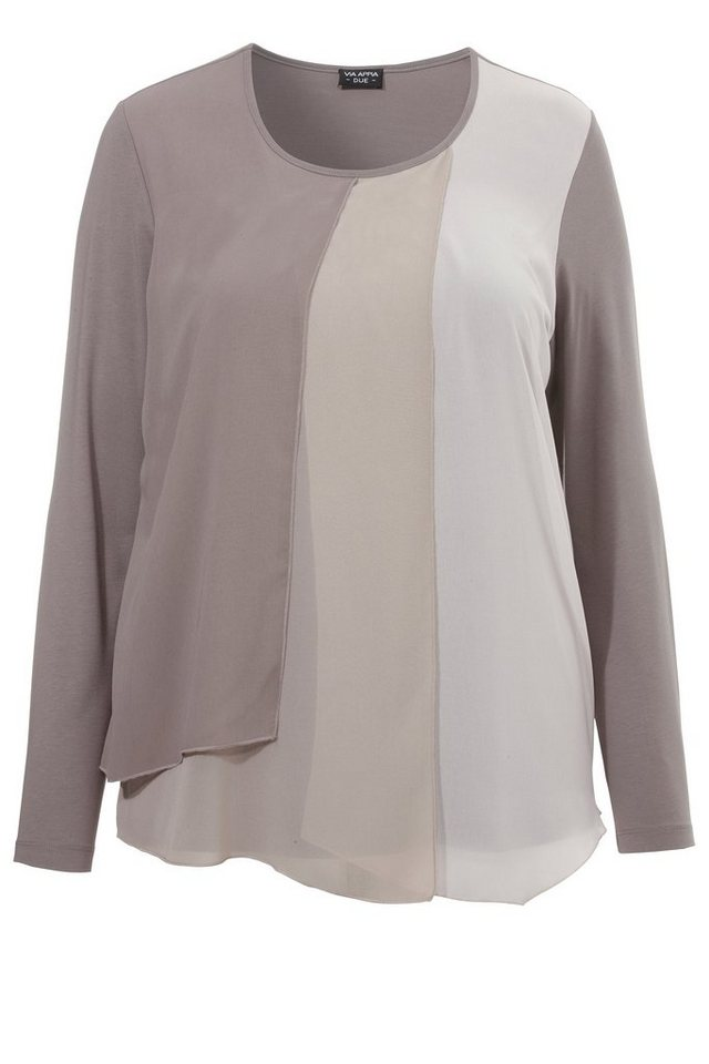 VIA APPIA DUE Shirt im Colour-Block-Look »Cosy« in taupe