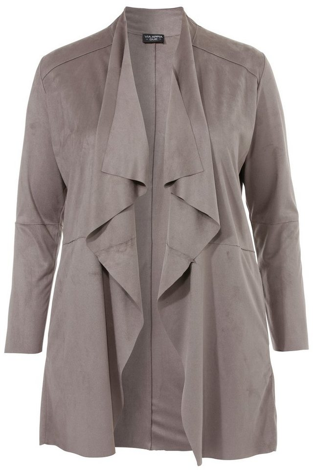 VIA APPIA DUE Feminine Jacke mit breitem Revers in taupe