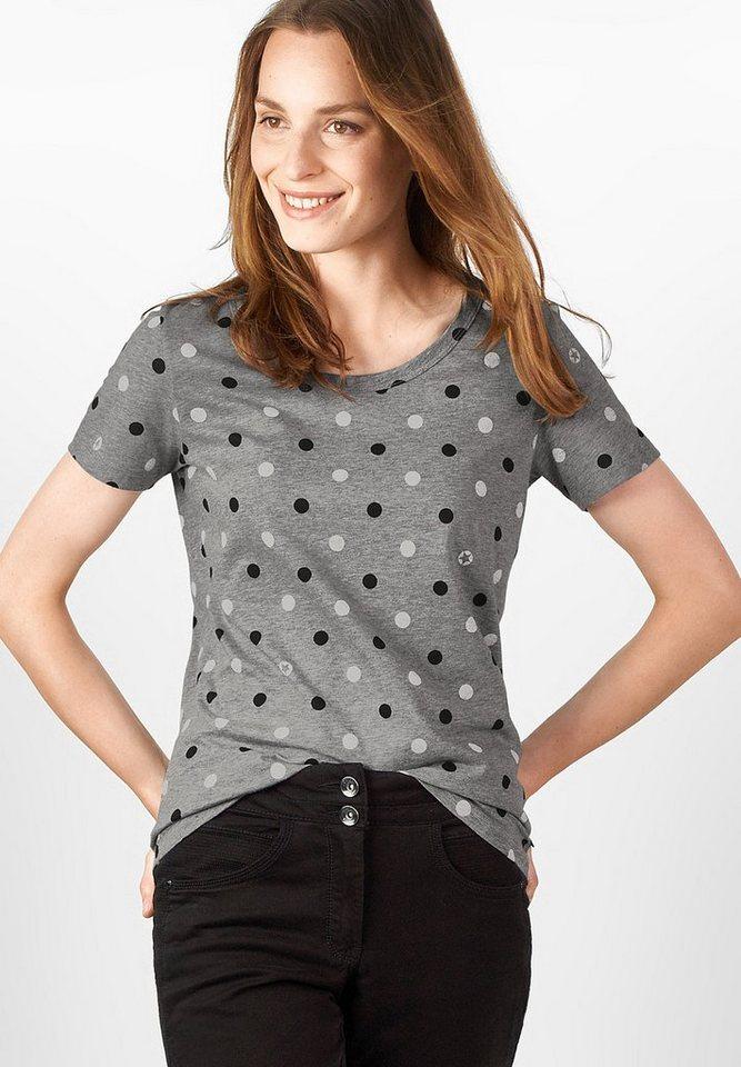 CECIL Halbarm-Punkteprint Shirt in black