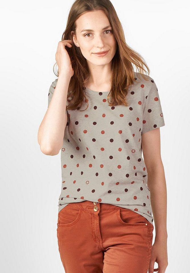 CECIL Halbarm-Punkteprint Shirt in maroon red