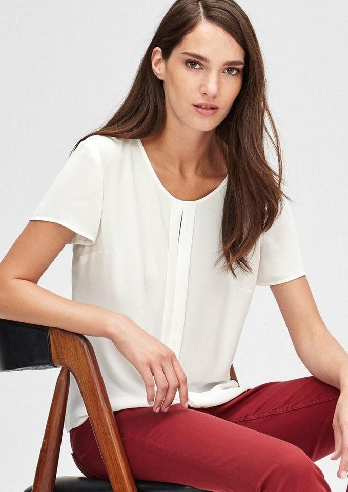 s.Oliver BLACK LABEL Crêpe-Blusenshirt mit Faltendetail in warm white