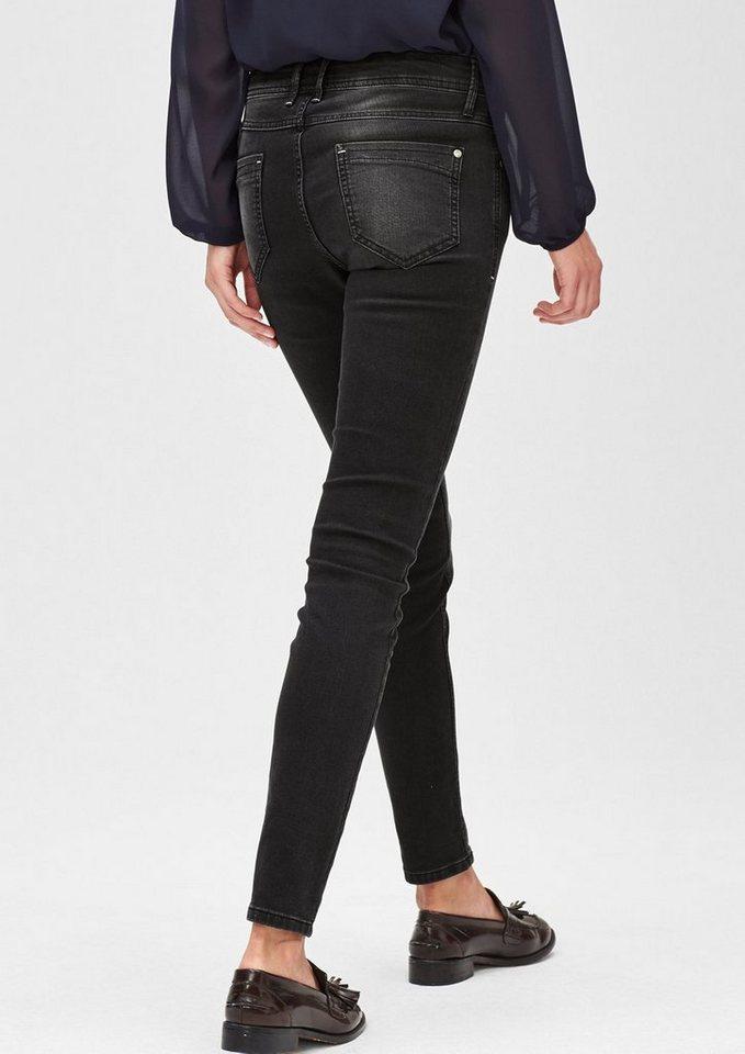 s.Oliver BLACK LABEL Slim:Colored Stretch-Jeans in grey/black