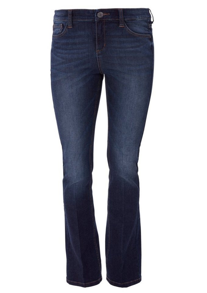 TRIANGLE Regular: Flared Jeans im Used-Look in ocean blue