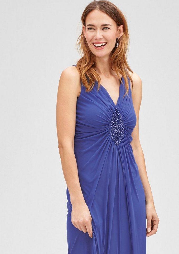 s.Oliver BLACK LABEL Mesh-Kleid mit Schmuckperlen-Dekor in cobalt blue