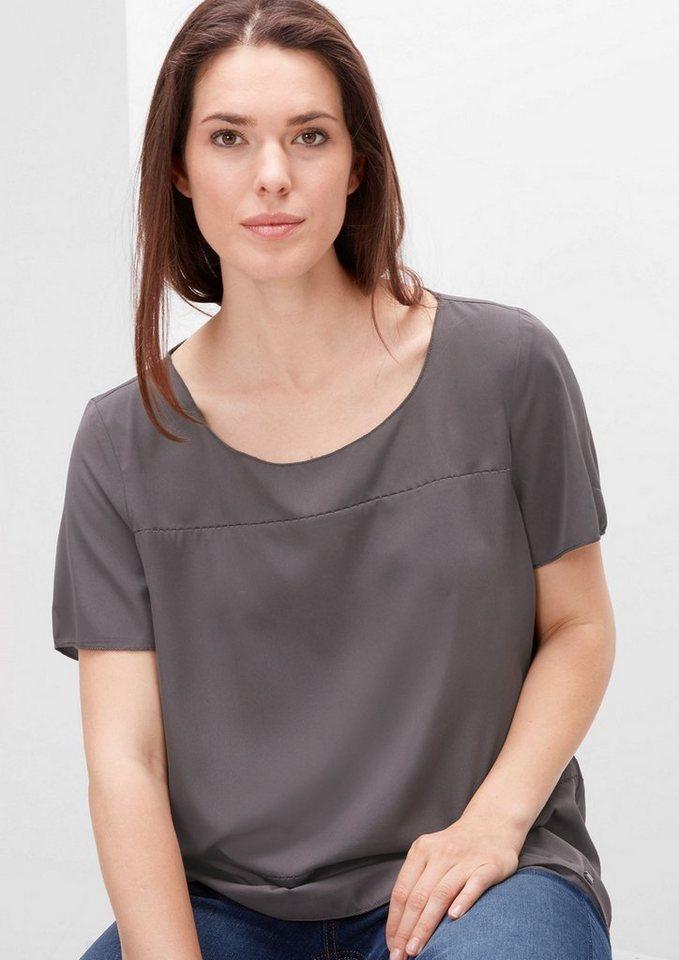 TRIANGLE Blusenshirt mit dekorativen Nähten in dark silk grey