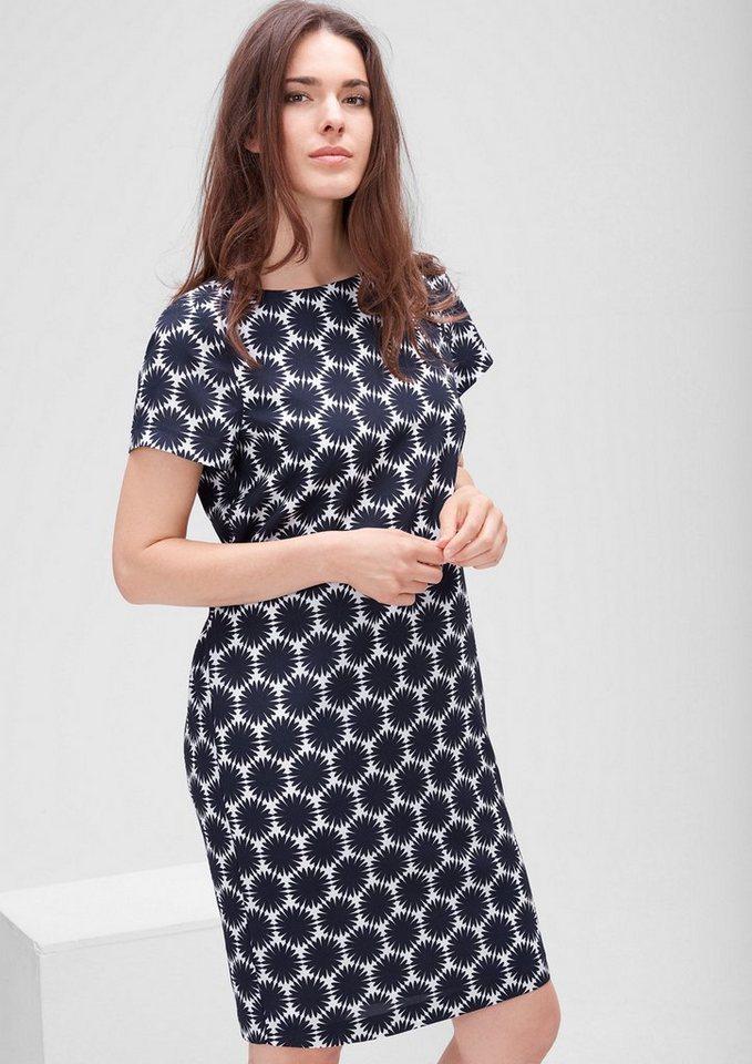 TRIANGLE Crêpe-Kleid mit Allover-Print in blue AOP