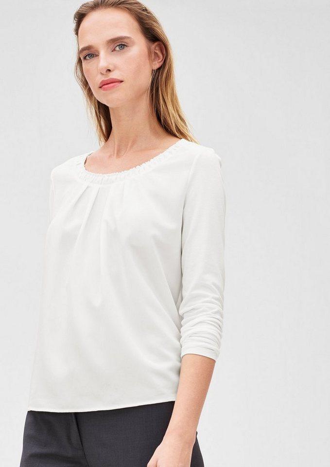 s.Oliver BLACK LABEL Gerüschtes Blusenshirt in warm white