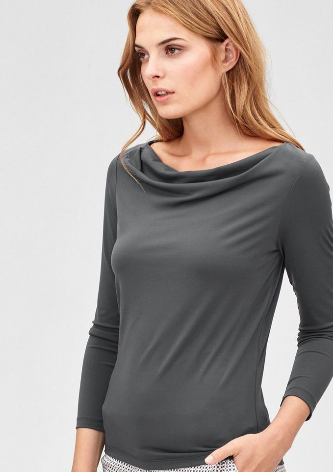 s.Oliver BLACK LABEL Stretch-Shirt mit feinem Schimmer in mystic grey