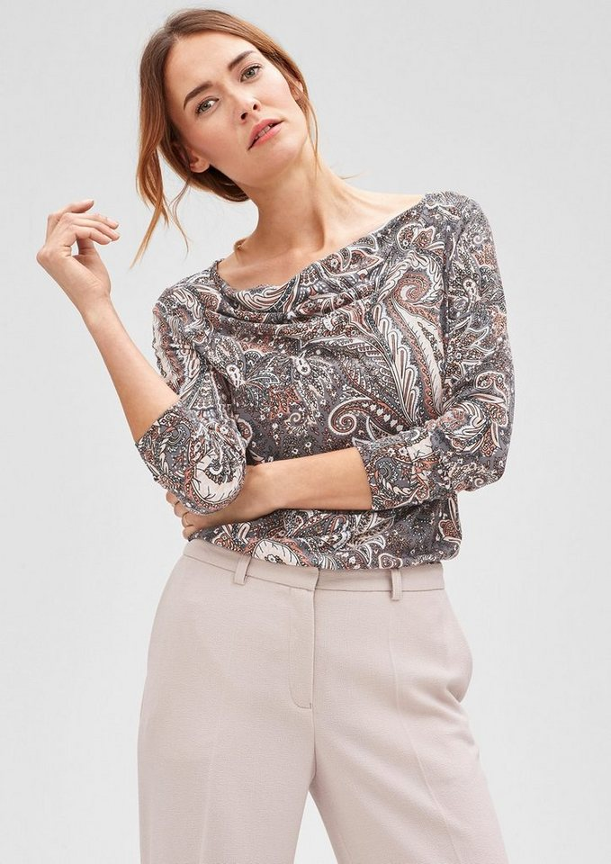 s.Oliver BLACK LABEL Stretch-Shirt mit Allover-Print in grey AOP paisley