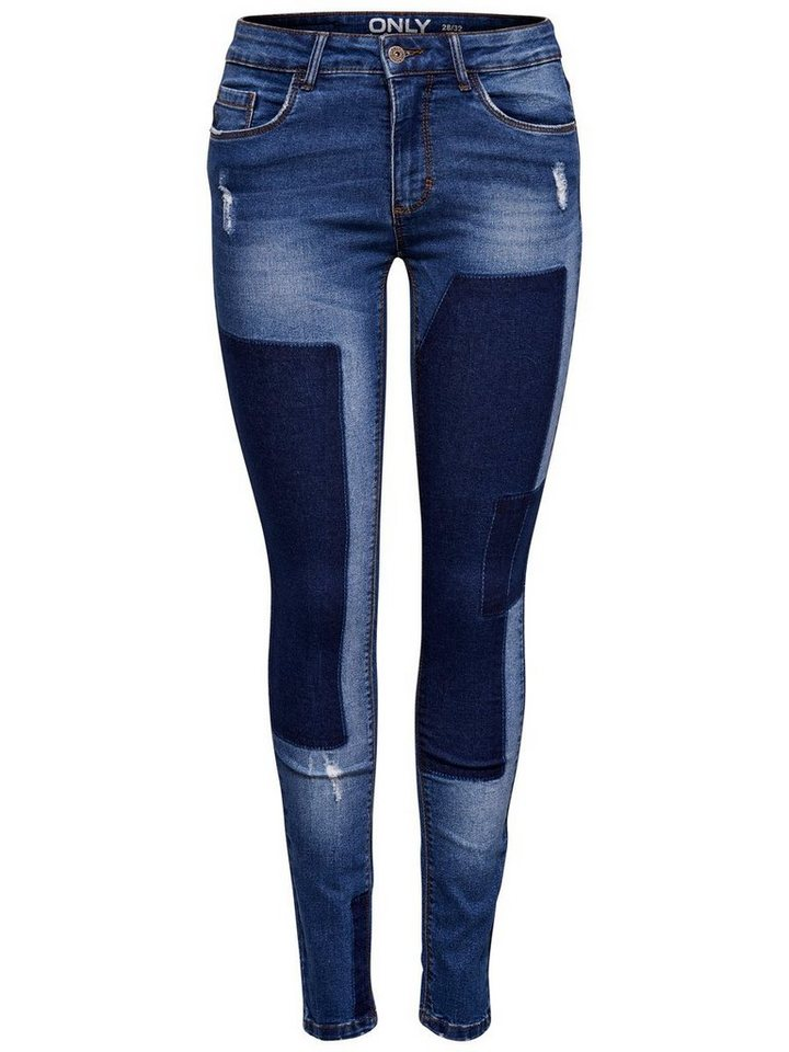 Only Carmen Reg Patch Skinny Fit Jeans in Dark Blue Denim